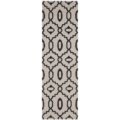 Dhurries Ivory/Black Area Rug Rug Size: Runner 26 x 8