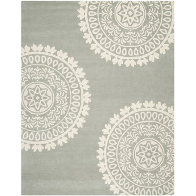 Harger Hand-Tufted Wool Gray/Ivory Area Rug Rug Size: Rectangle 5 x 8