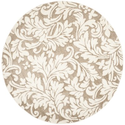 Maritza Floral Wheat/Beige Indoor/Outdoor Area Rug Rug Size: Round 7
