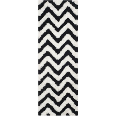 Barcelona Shag Hand-Tufted Cotton White/Black Area Rug Rug Size: Runner 23 x 7