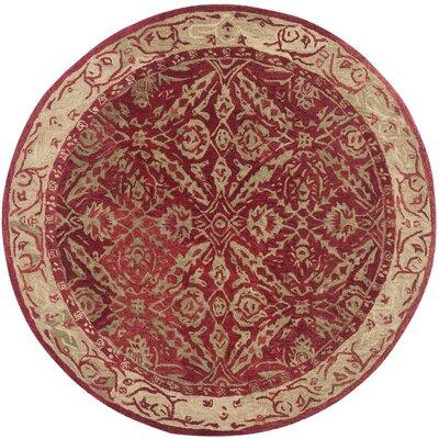 Anatolia Red/Ivory Area Rug Rug Size: Round 6