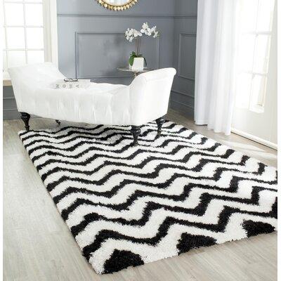 Barcelona White/Black Area Rug Rug Size: 5 x 8