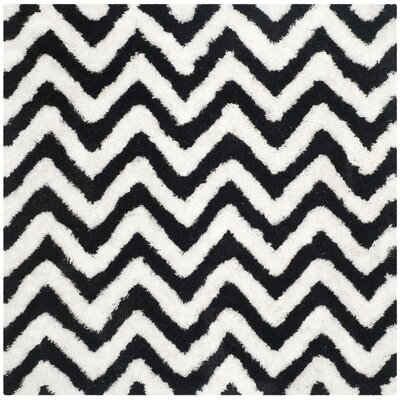 Barcelona White/Black Area Rug Rug Size: Square 5