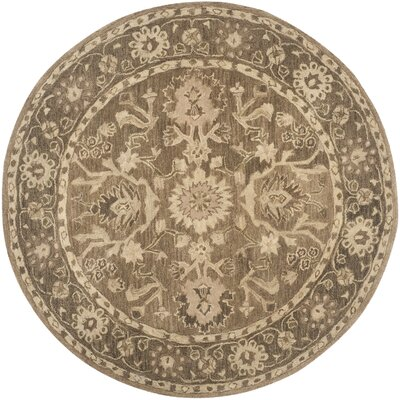Anatolia Brown Grey Area Rug Rug Size: Round 6