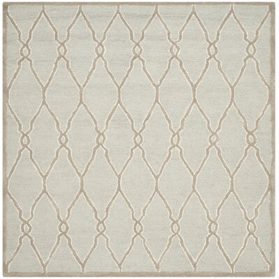 Martins Hand-Tufted Wool Light Gray/Ivory Area Rug Rug Size: Square 8