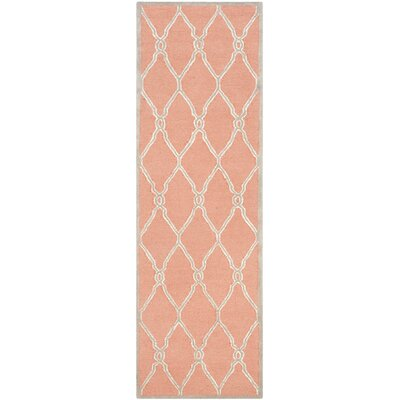 Hagley Hand-Woven Wool Orange/Ivory Area Rug Rug Size: Runner 26 x 12