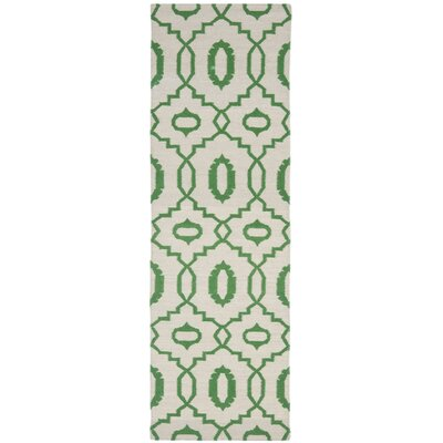 Dhurries Ivory/Green Area Rug Rug Size: Runner 26 x 6