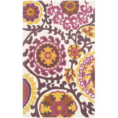Cedar Brook Purple Floral & Plant Area Rug Rug Size: 4' x 6'
