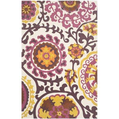 """Cedar Brook Purple Floral & Plant Area Rug Rug Size: 7'3"""" x 9'3"""