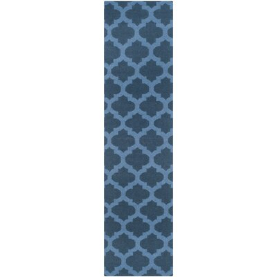 Dhurries Hand-Woven Wool Blue Area Rug Rug Size: Runner 26 x 10