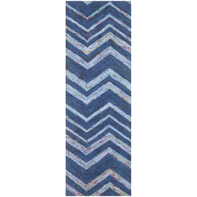 Nantucket Blue Chevron Area Rug Rug Size: Runner 2'3