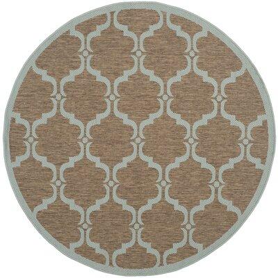 Safavieh Courtyard Brown / Aqua Contemporary Rug - Rug Size: Round 5'