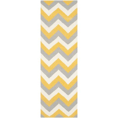 Dhurries Hand-Woven Cotton Chevron Area Rug Rug Size: Runner 2'6
