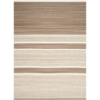 Sojourn Brown / Ivory Striped Rug Rug Size: 5 x 8