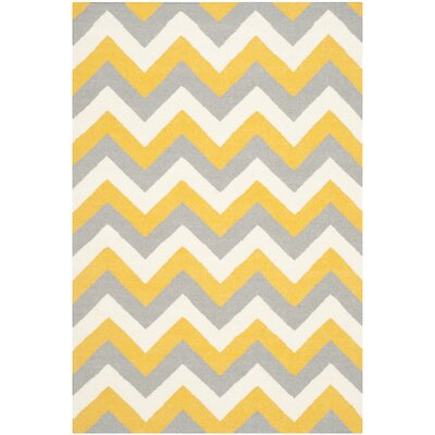 Dhurries Gold/Grey Chevron Area Rug Rug Size: 4' x 6'