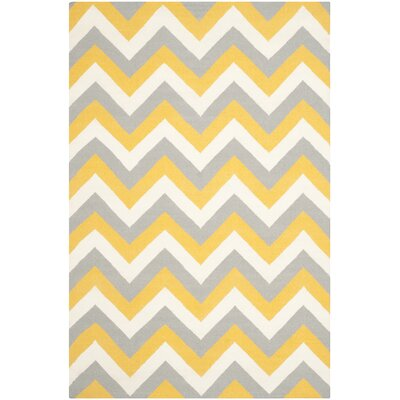 Dhurries Gold/Grey Chevron Area Rug Rug Size: 6 x 9
