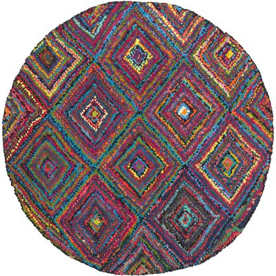 Sergio Hand-Tufted Pink/Green Area Rug Rug Size: Round 6
