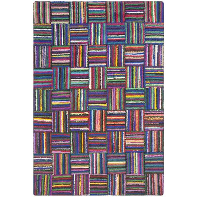 Castro Hand-Tufted Cotton Red/Blue Area Rug Rug Size: Rectangle 4 x 6