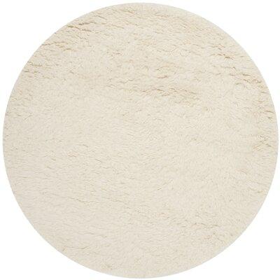Flokati Hand-Tufted Wool Ivory Area Rug Rug Size: Round 4