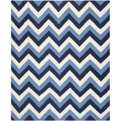 Dhurries Hand-Woven Navy/Light Blue Area Rug Rug Size: Rectangle 8 x 10