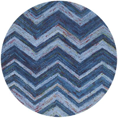 Nantucket Blue Chevron Area Rug Rug Size: Round 4
