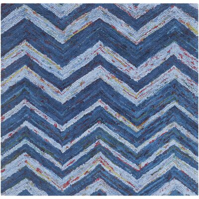Nantucket Blue Chevron Area Rug Rug Size: Square 4'