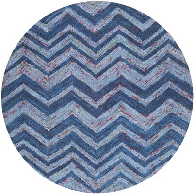 Nantucket Blue Chevron Area Rug Rug Size: Round 6'