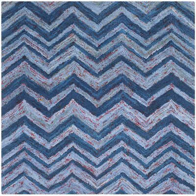 Anaheim Hand-Woven Cotton Blue Area Rug Rug Size: Square 6