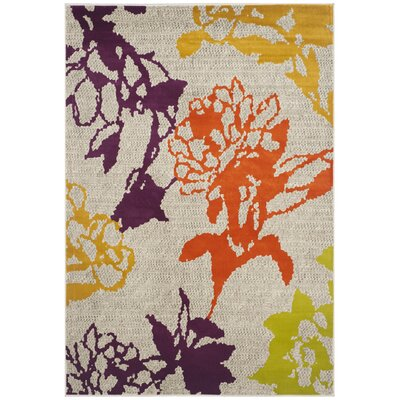 Porcello Light Grey / Purple Floral and Plant Rug Rug Size: 6' x 9'