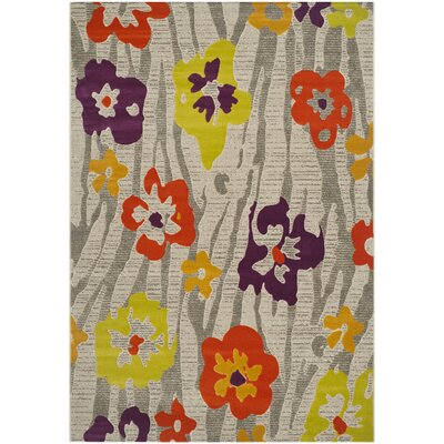 """Porcello Light Grey / Purple Floral and Plant Rug Rug Size: 5'2"""" x 7'6"""
