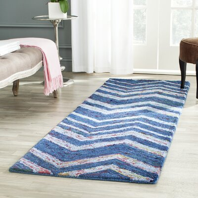 Anaheim Hand-Woven Cotton Blue Area Rug Rug Size: Runner 23 x 7