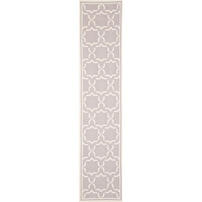 Dhurries Hand-Woven Wool Purple/Ivory Area Rug Rug Size: Runner 26 x 10