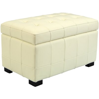 Leather Ottoman Upholstery: Black / White