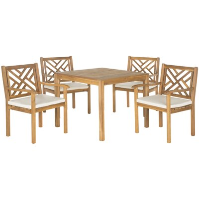 Bradbury 5 Piece Dining Set with Cushions Finish: Teak  Brown
