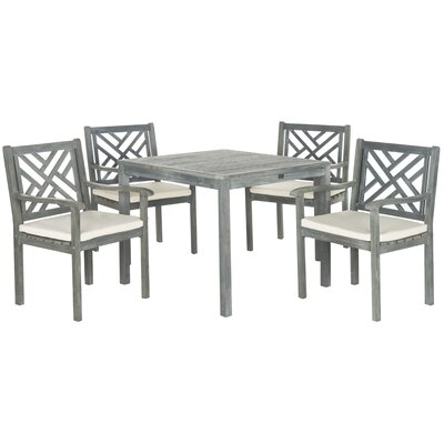 Bradbury 5 Piece Dining Set with Cushions Finish: Ash Grey