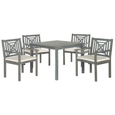 Del Mar 5 Piece Dining Set with Cushion Finish: Ash Grey