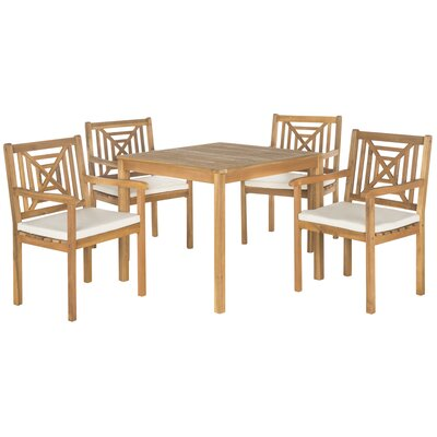 Del Mar 5 Piece Dining Set with Cushion Finish: Teak  Brown