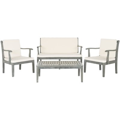 Fresno 4 Piece Seating Group with Cushions Finish: Ash Grey