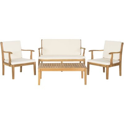 Fresno 4 Piece Seating Group with Cushions Finish: Teak  Brown