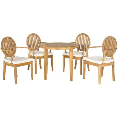 Chino 5 Piece Dining Set with Cushions Finish: Teak  Brown