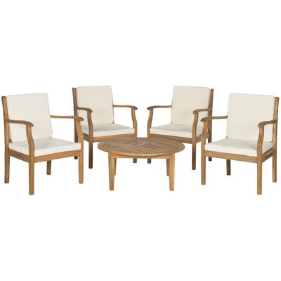 Colfax 5 Piece Seating Group with Cushions Finish: Teak Brown