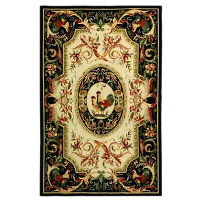 Kinchen Ivory/Black Novelty Area Rug Rug Size: Rectangle 53 x 83