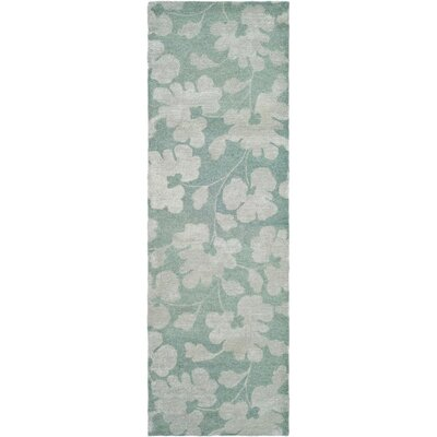 Armstrong Hand-Tufted Light Blue / Silver Area Rug Rug Size: Runner 26 x 12