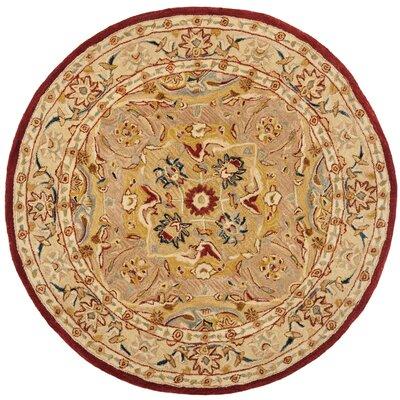 Anatolia Gold/Ivory Area Rug Rug Size: Round 6