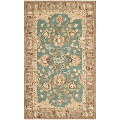 Anatolia Teal/Camel Area Rug Rug Size: Rectangle 3 x 5
