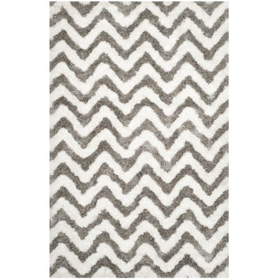 Hempstead Hand-Tufted Gray/White Area Rug Rug Size: Rectangle 4 x 6