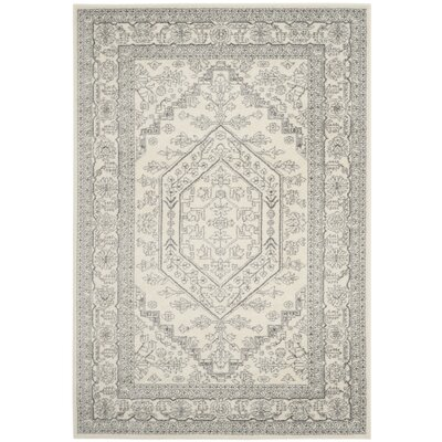 Glover Contemporary Ivory/Silver Area Rug Rug Size: Rectangle 51 x 76