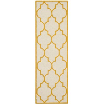 Charlenne Hand-Tufted Ivory/Gold Area Rug Rug Size: Runner 26 x 8
