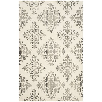Dip Dye Ivory/Charcoal Area Rug Rug Size: Rectangle 5 x 8