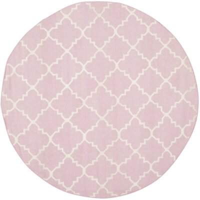 Pink/Ivory Area Rug Rug Size: Round 6
